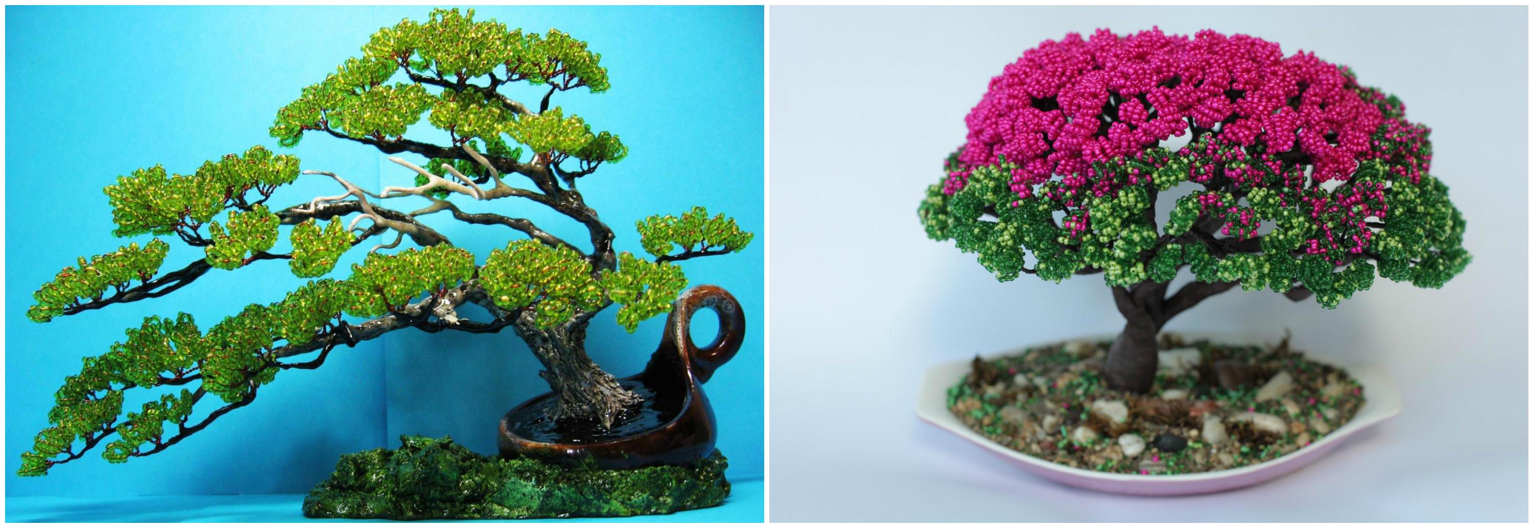 Деревья бонсай из бисера
