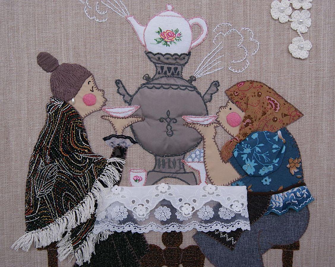 панно чаепитие из лоскутков