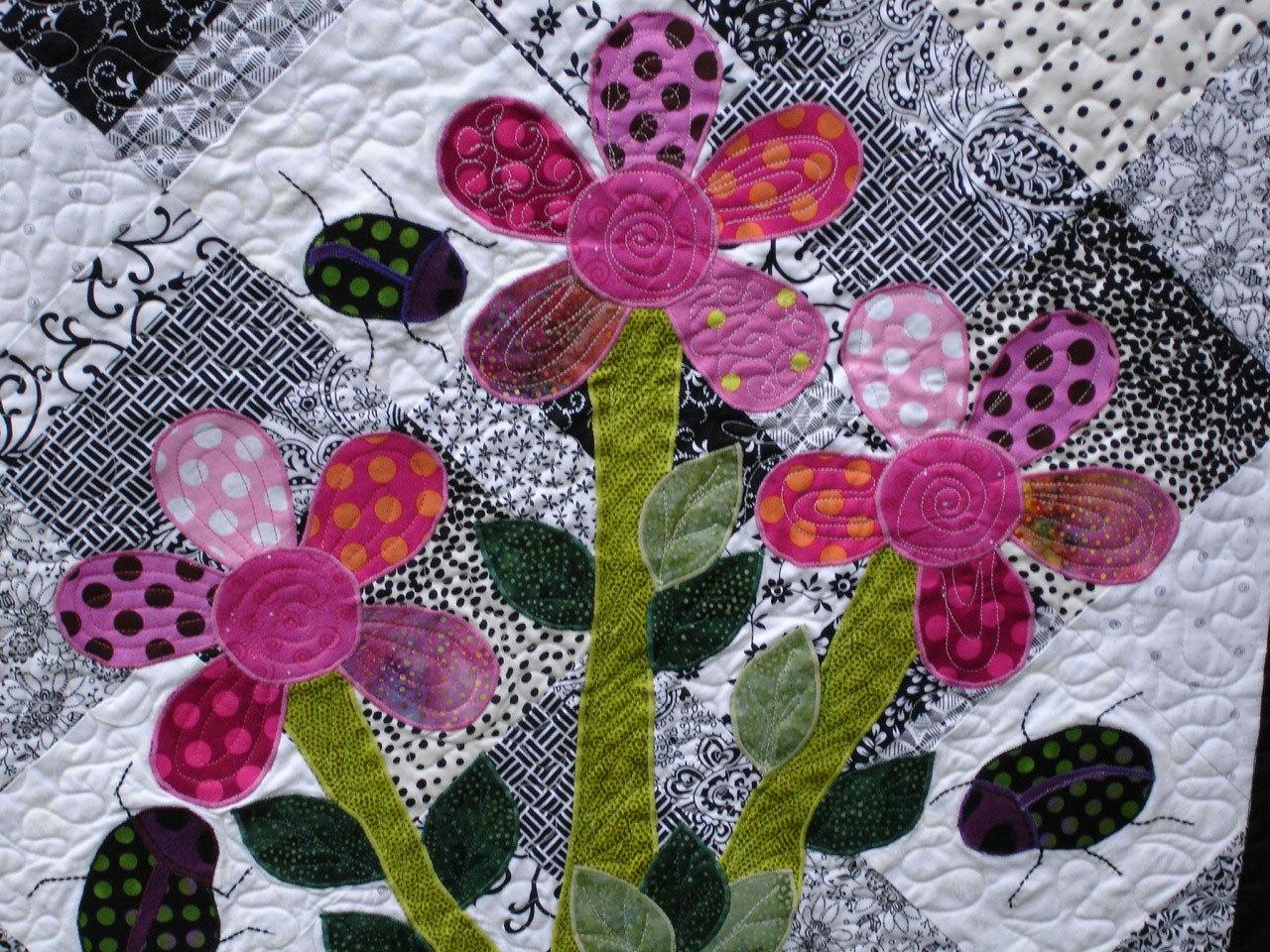 цветы картина из лоскутков