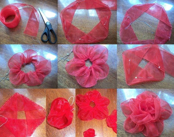 как сделать цветы из ленты
